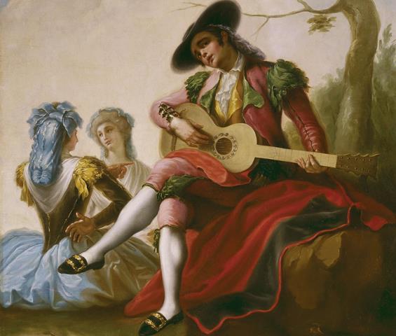 Quadro de um homem tocando violão, parte da história do violão.